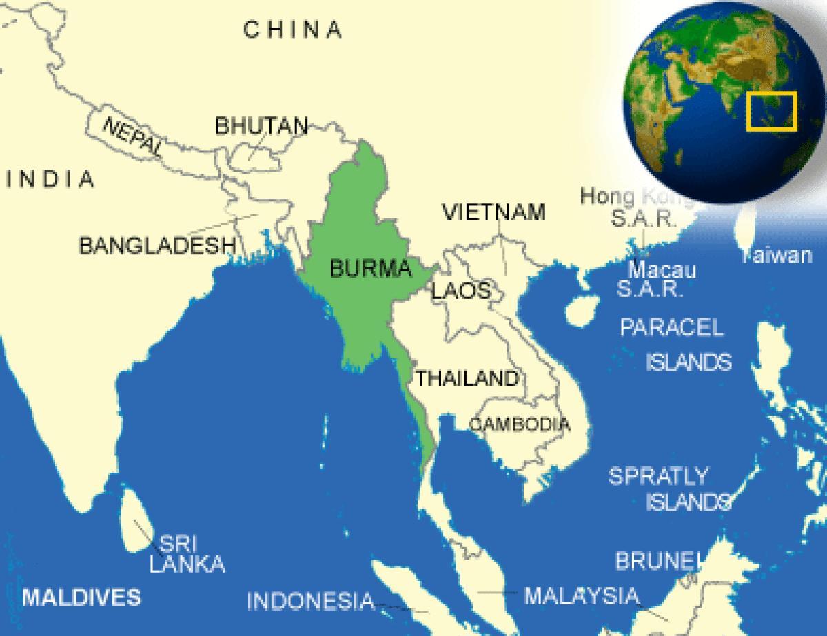 Χάρτης της Βιρμανίας Μυανμάρ - Βιρμανία ή Μιανμάρ χάρτη (Νότιο-Ανατολική Ασία - Ασία)